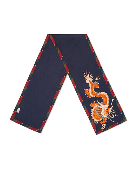 Gucci Silk-Cashmere Scarf with Dragon