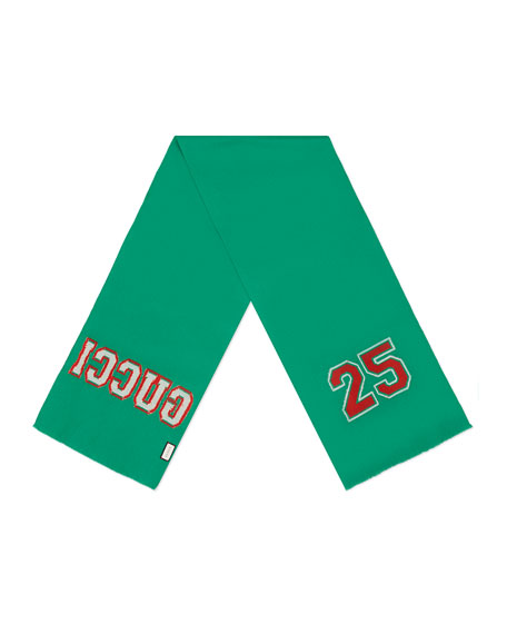Gucci 25 Scarf, Grass Green/Red