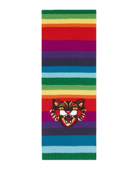 Striped Wool Scarf with Angry Cat