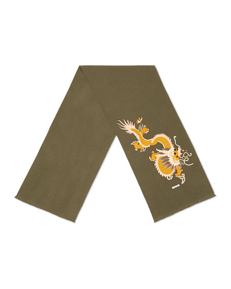Gucci Embroidered Dragon Appliqué Scarf, Olive