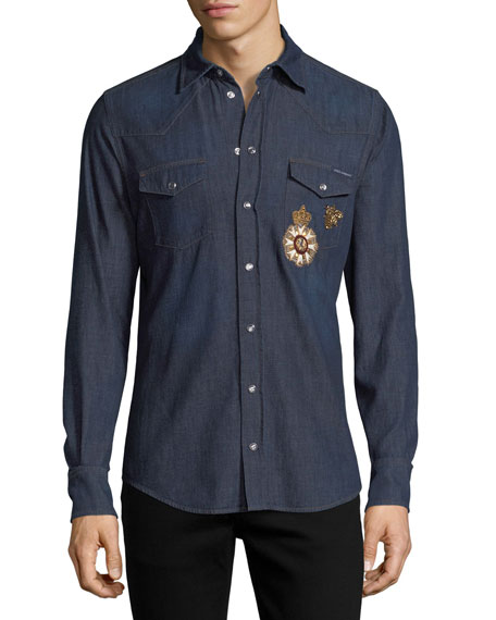 Embroidered Denim Western Shirt