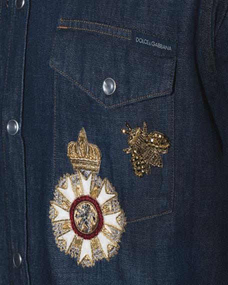 Embroidered Denim Western Shirt