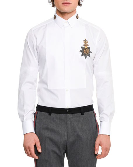 Dolce & Gabbana Crown Medal Embroidered Tuxedo Shirt,