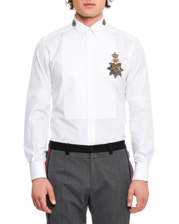 c40e3ebb288e Dolce & Gabbana Crown Medal Embroidered Tuxedo Shirt, White | Neiman ...