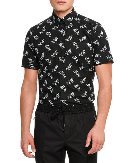 Dolce & Gabbana Floral-Print Short-Sleeve Cotton Shirt, Black