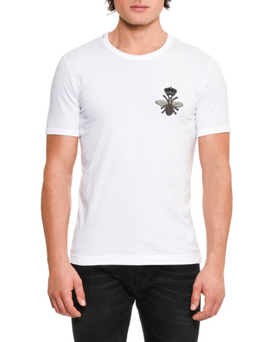Crown & Bee Embroidered Cotton T-Shirt, White