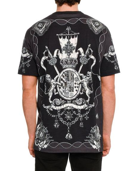 Nautical Crests Cotton T-Shirt, Black/White