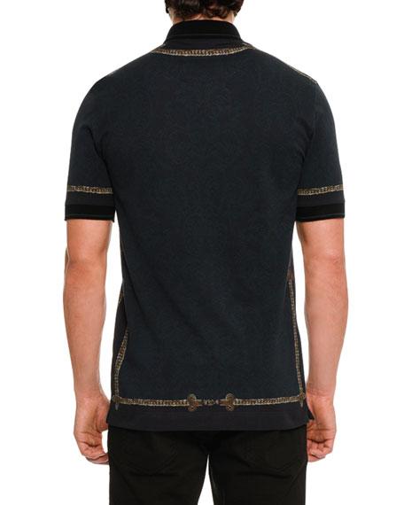 Military Swords Cotton Polo Shirt, Black/Multicolor