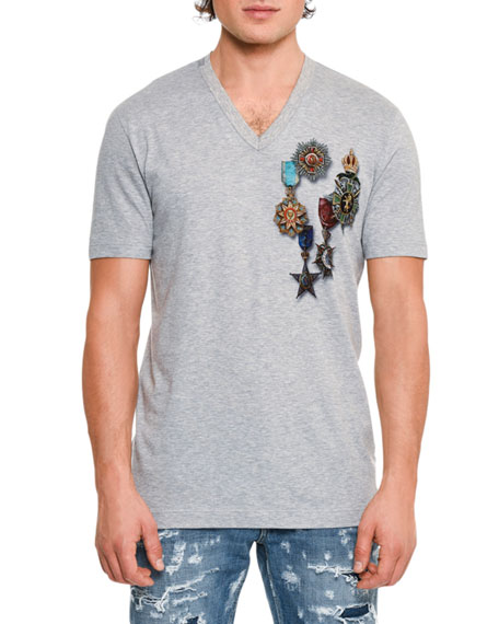 Dolce & Gabbana Military Medals Cotton V-Neck T-Shirt,