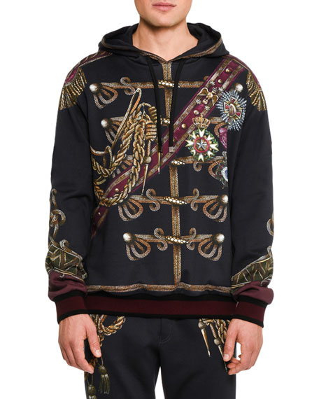 Dolce & Gabbana Military Trompe l'Oeil Hoodie, Black