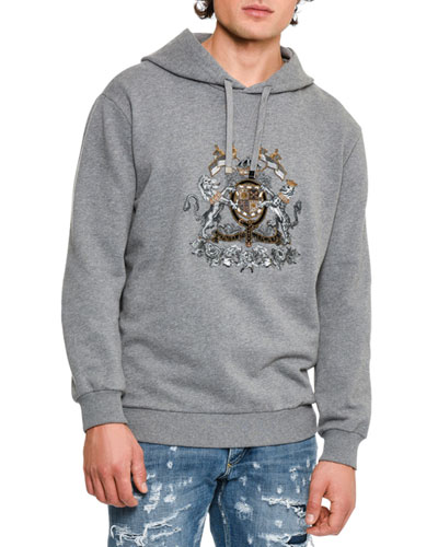 House Crest Mélange Hoodie, Medium Gray