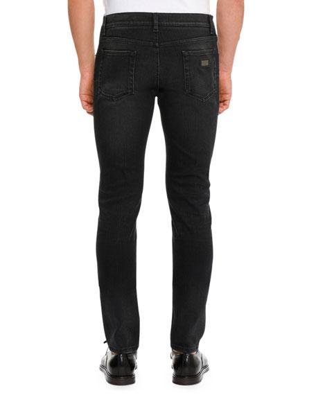 Basic Stretch Denim Slim-Fit Jeans, Black