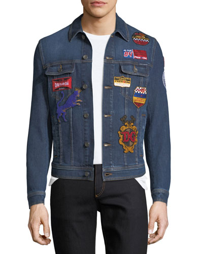 Embroidered Military Denim Jacket with Patches, Dark Blue