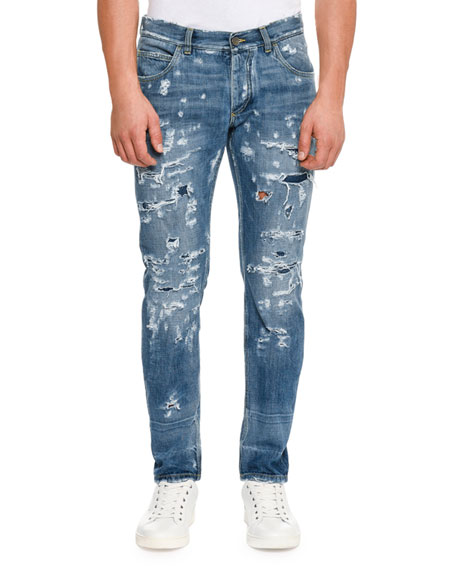 Dolce & Gabbana Distressed Slim-Fit Jeans, Blue