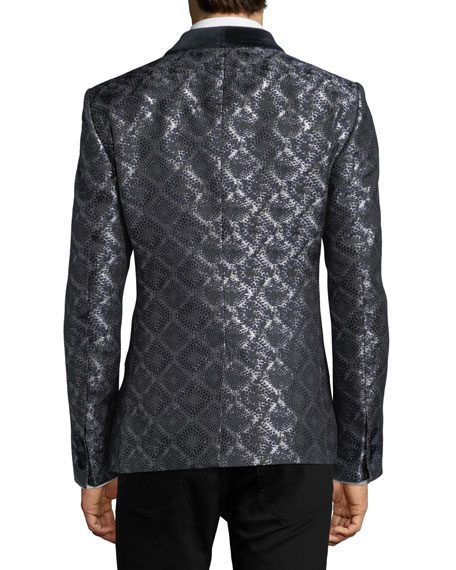 Damask-Print Jacquard Evening Jacket