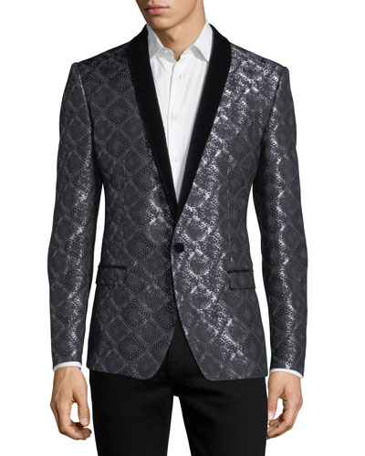 Damask-Print Jacquard Evening Jacket