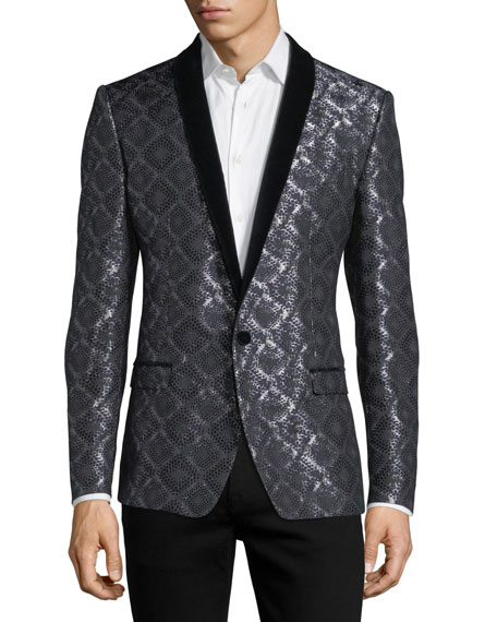 Dolce & Gabbana Damask-Print Jacquard Evening Jacket