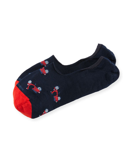 Marcoliani Invisible Touch Scooter No-Show Socks, Red/Navy