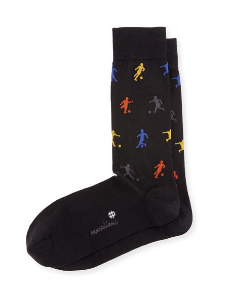 Marcoliani Soccer Crew Socks, Black