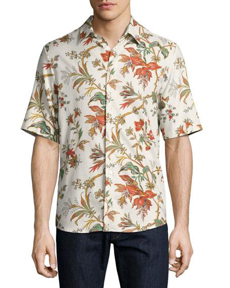 McQ Alexander McQueen Floral-Print Short-Sleeve Shirt, Off White