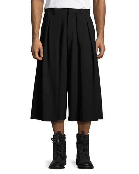 Double-Pleated Virgin Wool Wide-Leg Shorts, Black
