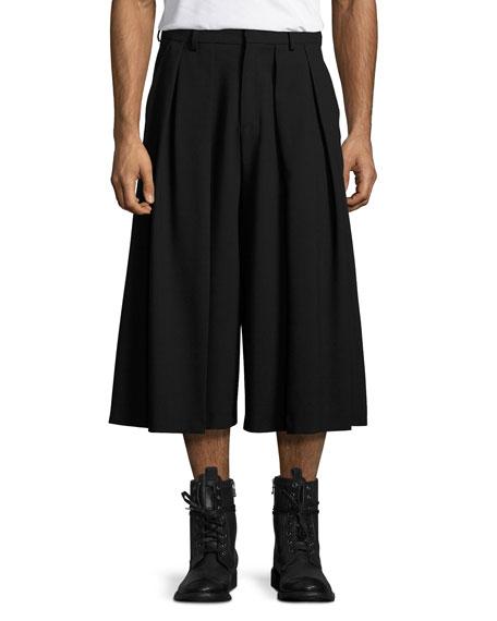 Double-Pleated Virgin Wool Wide-Leg Shorts, Black