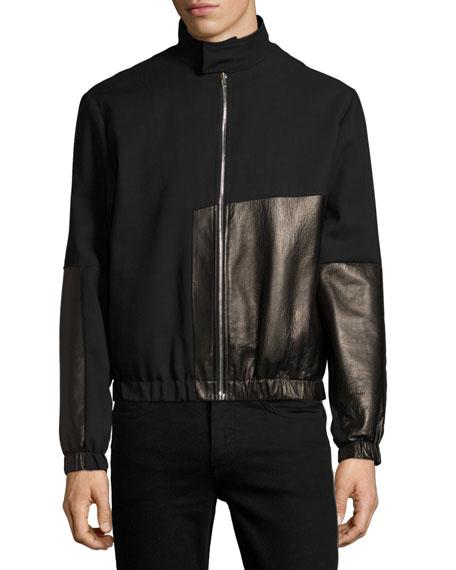 Virgin Wool & Leather Bomber Jacket, Black