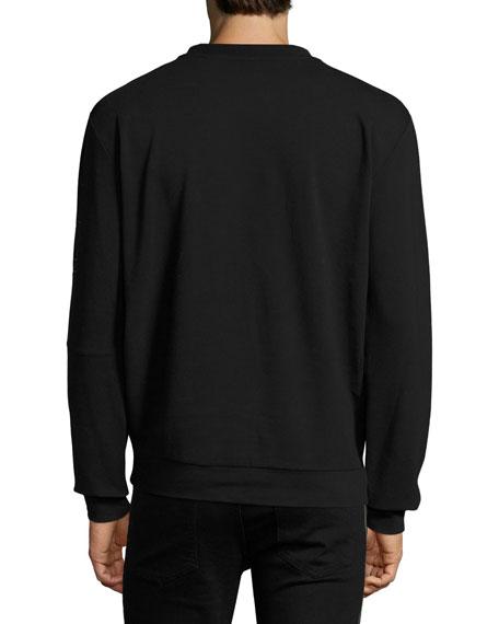 Pieced-Stripe Cotton Pique Sweatshirt, Black