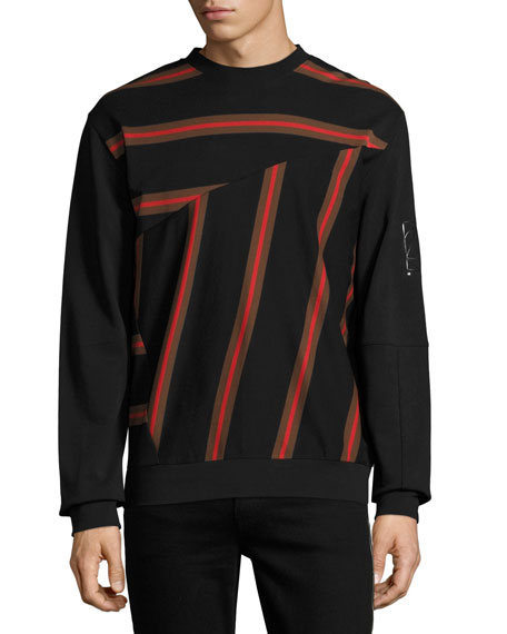 McQ Alexander McQueen Pieced-Stripe Cotton Pique Sweatshirt,