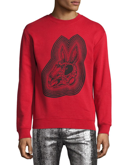 McQ Alexander McQueen Crazy Bunny Cotton Sweatshirt, Red