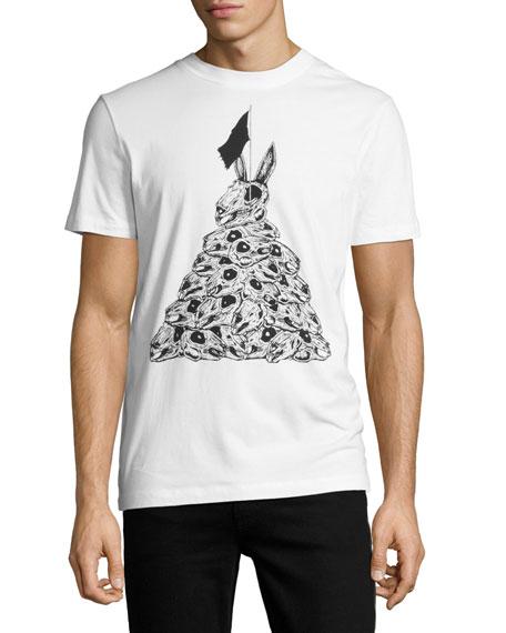 Rabbit Skull Crewneck T-Shirt, White