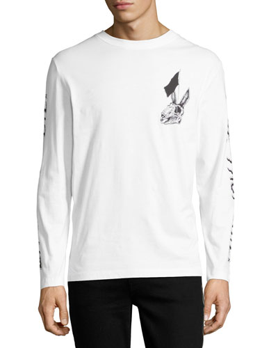 Bunny Skulls Long-Sleeve Cotton T-Shirt, White