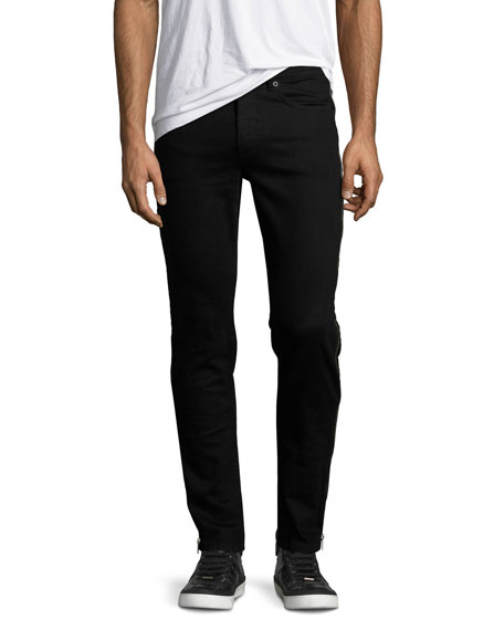 McQ Alexander McQueen Side-Zip Denim Skinny Jeans, Black