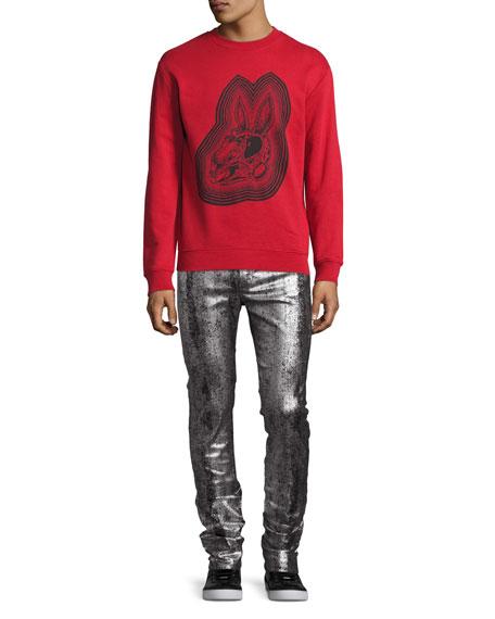 Metallic Painted Denim Slim-Straight Jeans, Silver/Gray