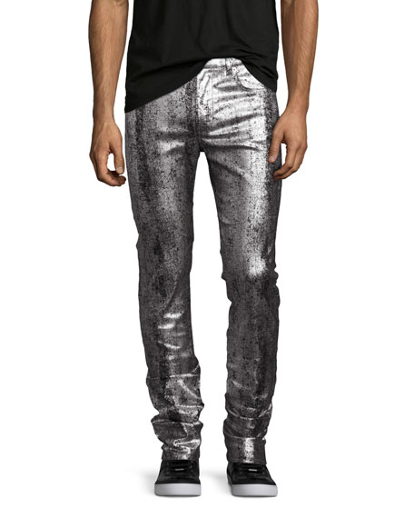 Metallic Painted Denim Slim-Straight Jeans, Silver/Gray
