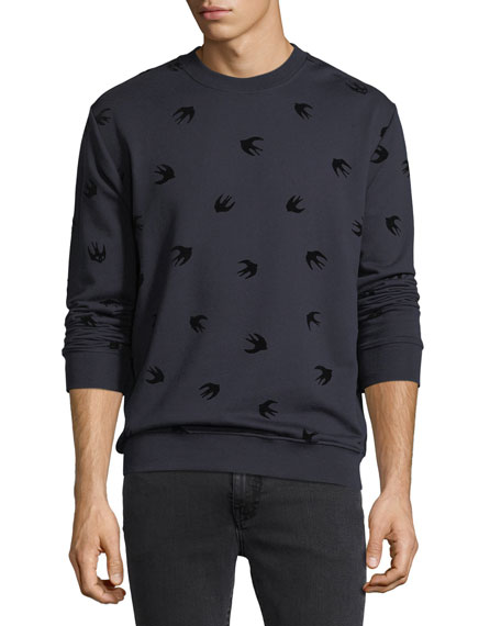McQ Alexander McQueen Flocked Swallow Sweatshirt