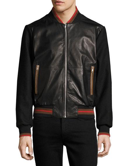 Leather Striped-Trim Bomber Jacket, Black
