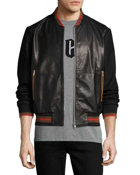McQ Alexander McQueen Leather Striped-Trim Bomber Jacket, Black