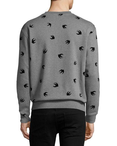 Swallow-Print Cotton Sweatshirt, Gray