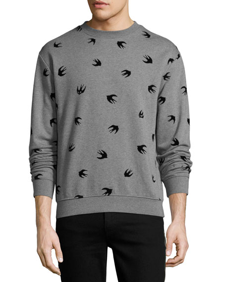 McQ Alexander McQueen Swallow-Print Cotton Sweatshirt, Gray