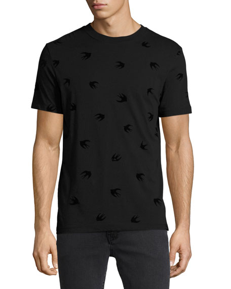 Tonal Swallow-Print Cotton T-Shirt, Black