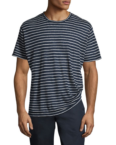 Striped Linen-Silk Crewneck T-Shirt, Blue/White
