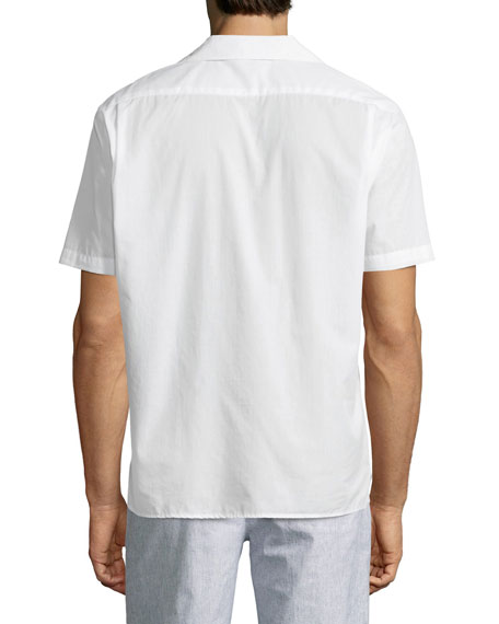 Cuban Short-Sleeve Button-Front Shirt, White