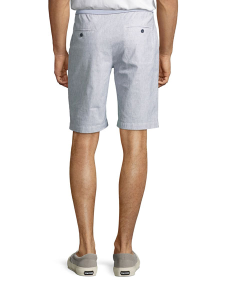 Melange Linen-Cotton Shorts, White/Blue