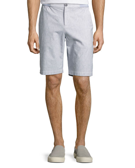 Melange Linen-Cotton Shorts, White/Blue