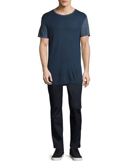 Modal Crewneck Ringer T-Shirt, Navy
