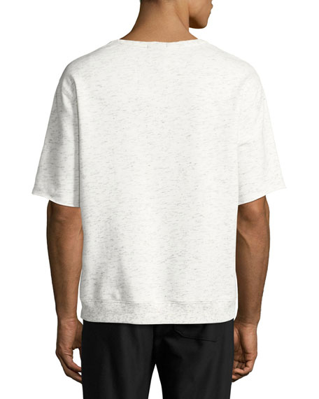 Short-Sleeve Melange Sweatshirt, Gray