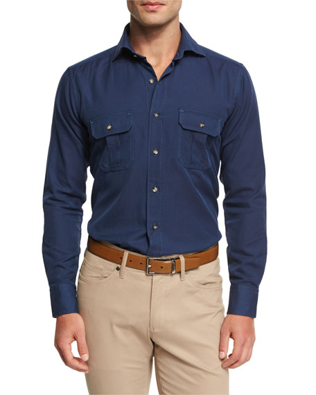 Peter Millar Vintage Discovery Shirt, Barchetta Blue