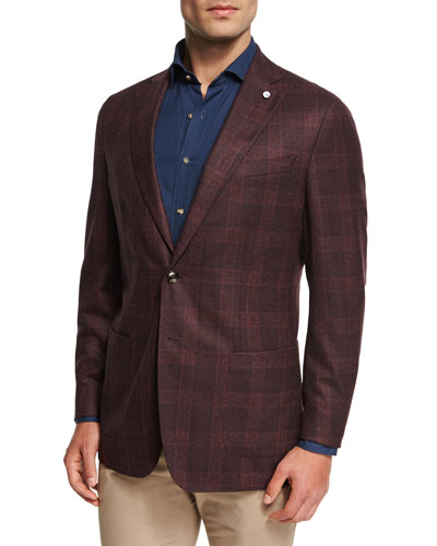 Collection Glen Windowpane Soft Jacket, Chianti