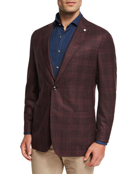 Peter Millar Collection Glen Windowpane Soft Jacket, Chianti